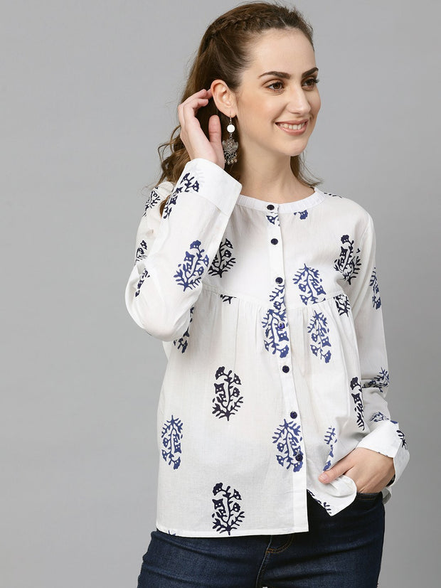 AASI - HOUSE OF NAYO White Navy blue Printed tunic with Mandarin collar & Full Sleeves