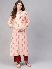 Women Peach-Coloured & Red Printed Straight Kurta