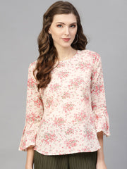 White & pink Floral printed top with Round neck & 3/4 Flared sleeves
