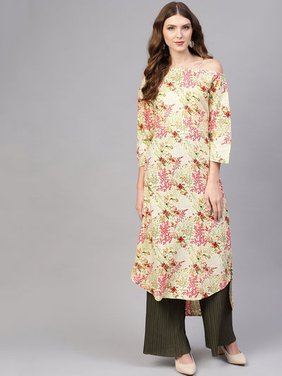 Women Cream-Coloured & Pink Off-Shoulder Printed Straight Kurta