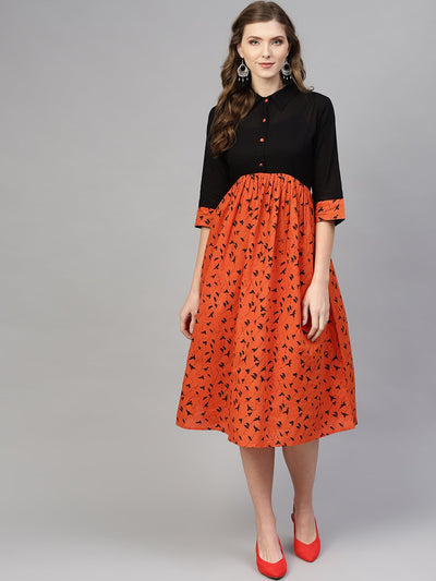 Women Black & Orange Printed A-Line Dress