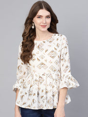 Women White & Brown Printed A-Line Top
