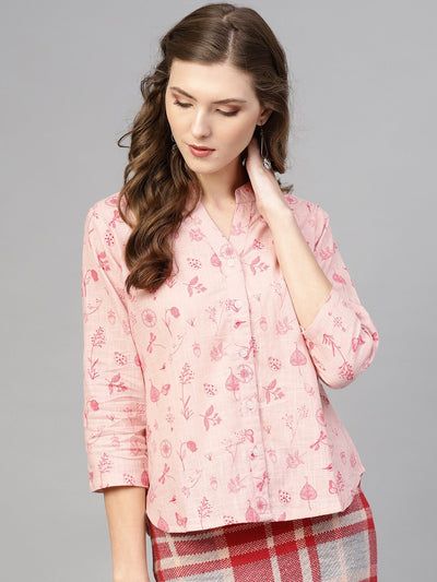 Pink printed top with madarin Collar & 3/4 sleeves