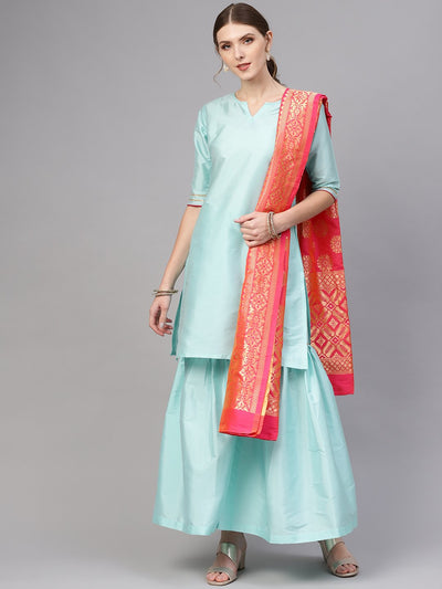 Women Blue & Pink Solid Kurta with Sharara & Dupatta