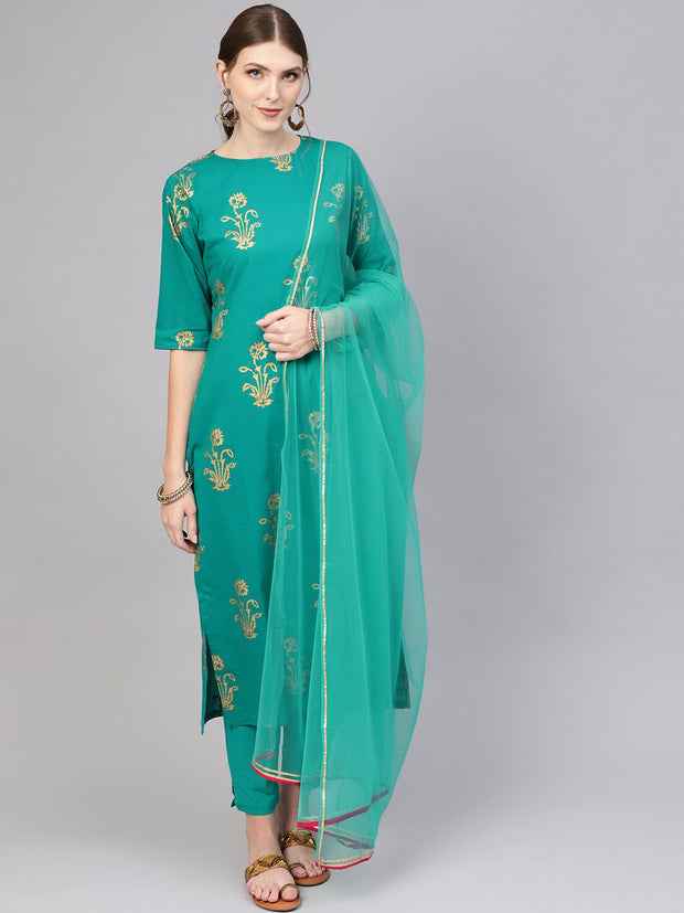 Women Green & Golden Printed Kurta with Trousers & Dupatta