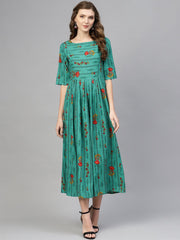 Women Green & Red Printed Maxi Dress