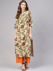 Women Beige & Olive Green Printed Cotton Straight Kurta