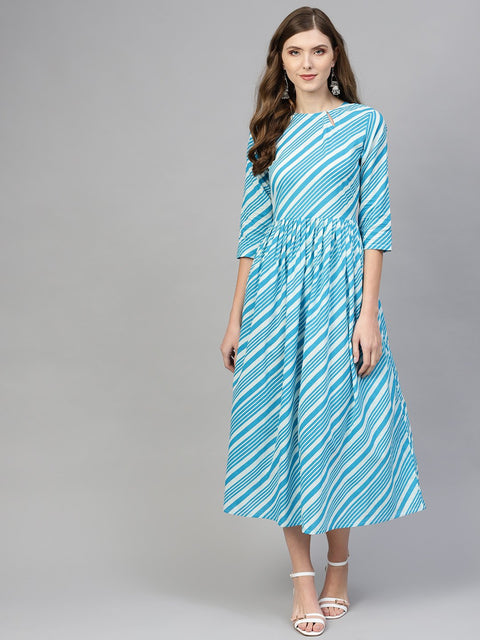 Women Blue & White Striped Maxi Dress