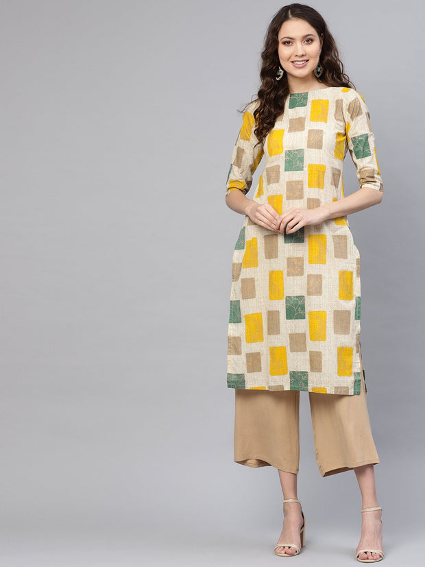Women Off-White & Mustard Yellow Printed Straight Kurta