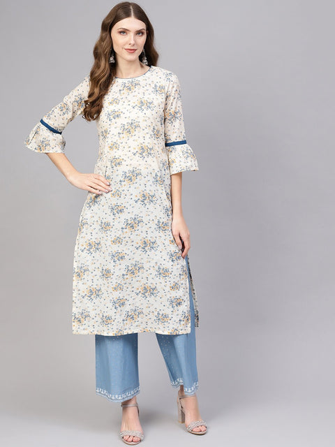 Women Off-White & Blue Printed Cotton Straight Kurta