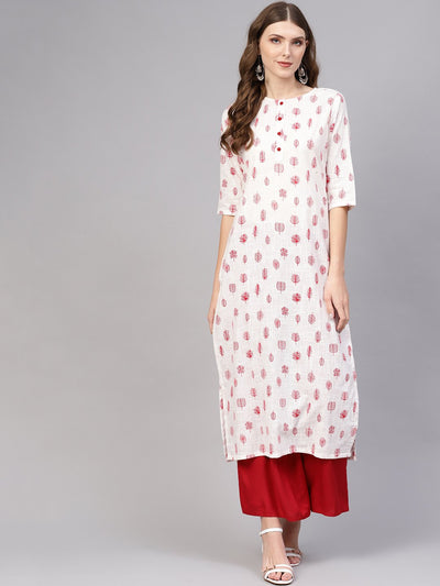 Women White & Red Printed Straight Kurta