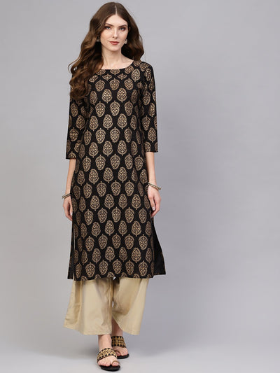 Women Black & Golden Printed Straight Kurta