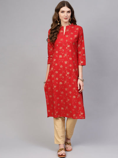 Women Red & Golden Printed Cotton Straight Kurta