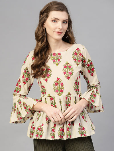 Cream Multi colored floral printed top with Round & 3/4 sleeves