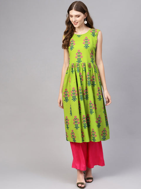 Women Green & Pink Printed Cotton A-Line Kurta