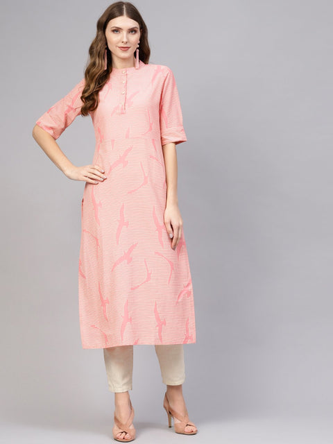 Women Pink & Off-White Striped Cotton Straight Kurta
