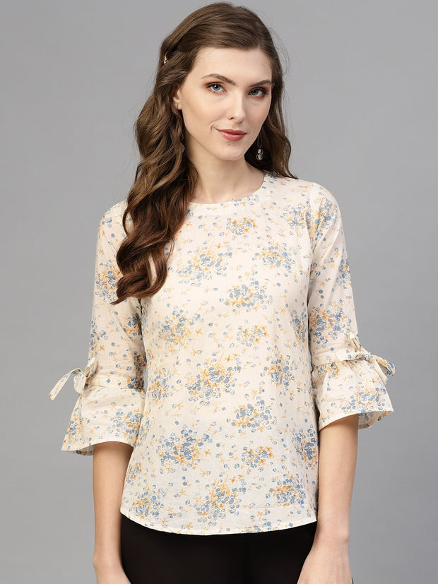 White & Blue Floral printed Top with Round Neck & flared Sleeves