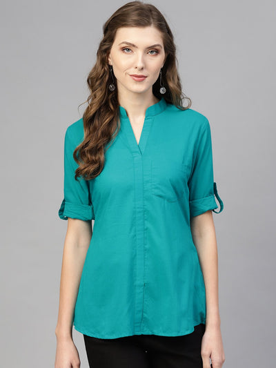 Turquoise Blue top with Mandarin Collar & 3/4 sleeves