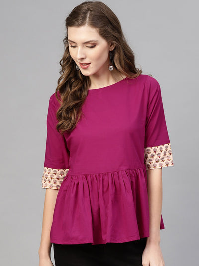 Women Magenta Solid A-Line Top