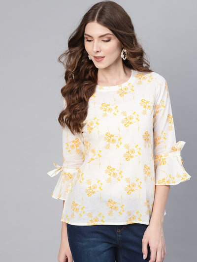 White & yellow Floral Printed Top with Round Neck & Flared sleeves