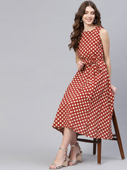 Women Maroon & Off-White Printed A-Line Dress