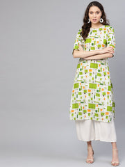 Women Off-White & Green Printed Straight Kurta