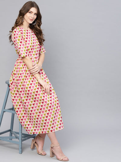 Women Cream-Coloured & Pink Printed A-Line Dress