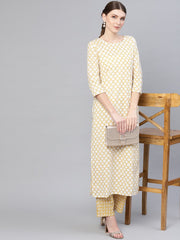 Women Off-White & Yellow Printed Kurta with Trousers