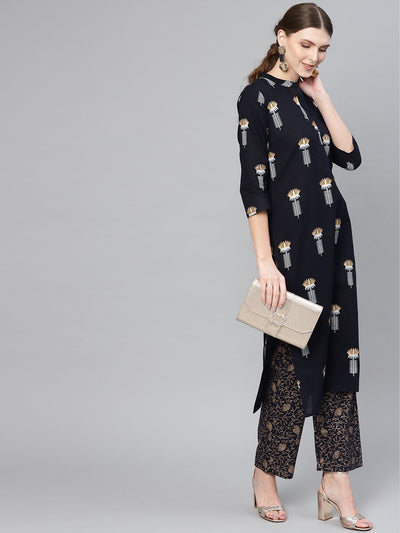 Women Navy Blue & Golden Printed Kurta with Trousers
