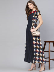 Women Navy Blue & Off-White Printed Maxi Dress