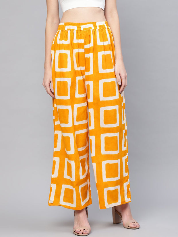 Women Mustard Yellow & Off-White Printed Wide Leg Palazzos