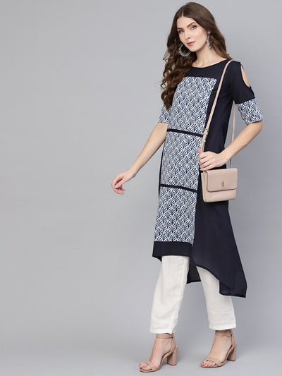 Women Navy Blue & White Printed Cold-Shoulder A-Line Kurta