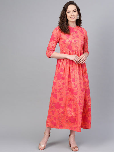 Peach & Megenta gold printed maxi dress with Round neck & 3/4 sleeves