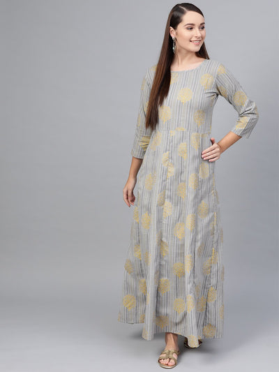 Grey Striped Gold printed maxi dress with Round Neck & 3/4 sleeves