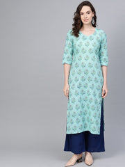 Pastel Blue Multi colored Printed Straight Kurta with Sweet heart neck & 3/4 sleeves