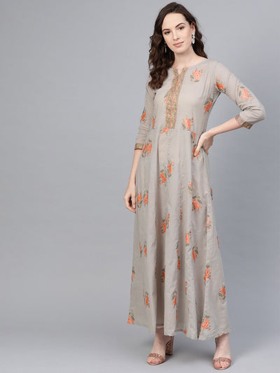 Slate Grey & peach printed Maxi dress with Round neck with V slit & 3/4 Sleeves