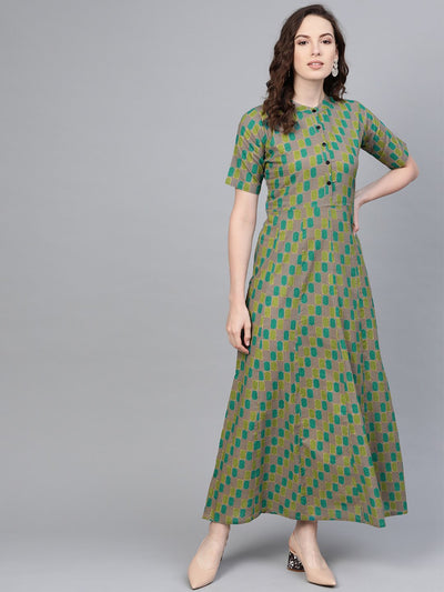 Sage green Multi colored Geometric printed Maxi dress with Mandarin Collar & half sleeves
