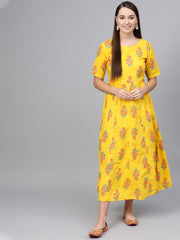 Yellow & Orange Printed maxi dress with Round neck & half sleeves