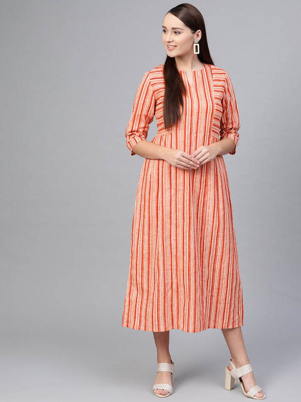 Peach Stripped  Midi dress with Round Neck With V & 3/4 sleeves
