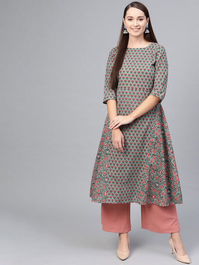 Sage green Floral Printed A-line kurta with Boat Neck & 3/4 sleeves