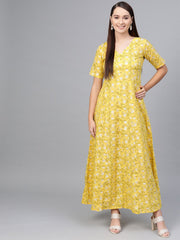 Yellow Multi colored Floral printed maxi dress with V neck & 3/4 sleeves