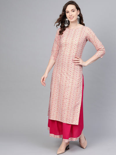 Cream Multi colored printed Straight Kurta with Magenta Skirt
