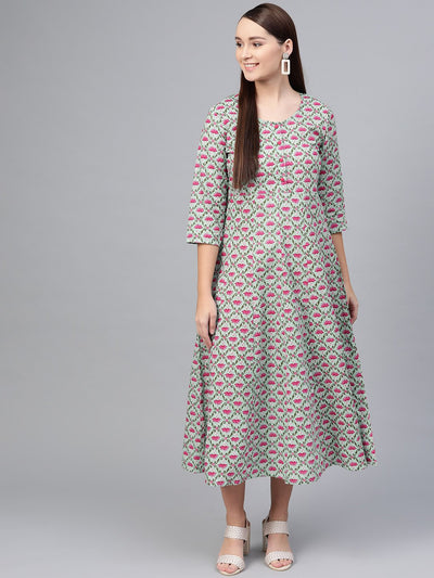 Pastel Green & Megenta Floral printed Maxi with Boat neck & 3/4 sleeves