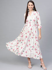 Off-White Multi colored Floral printed Maxi dress with Mandarin collar & 3/4 sleeves
