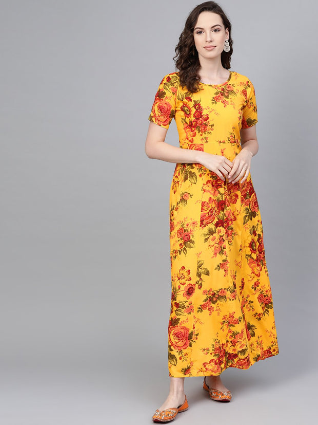 Yellow Multi colored floral printed Maxi dress with Round neck & 3/4 sleeves