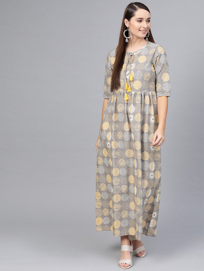 Grey multi colored Printed Maxi dress with keyhole neck & half sleeves