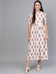 Off-White Multi Colored Buta print Maxi Dress with Round neck & detailed Sleeves