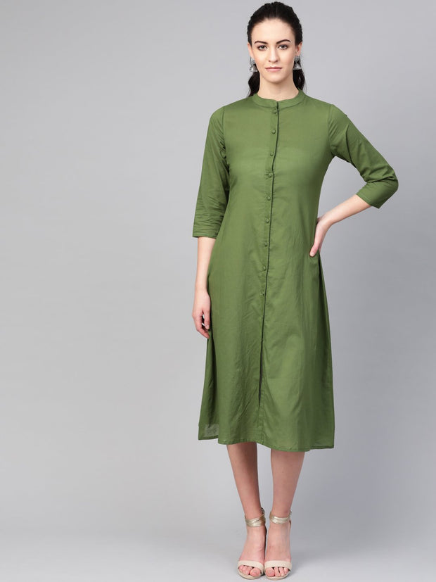 AASI - HOUSE OF NAYO Women Green Solid Midi Dress