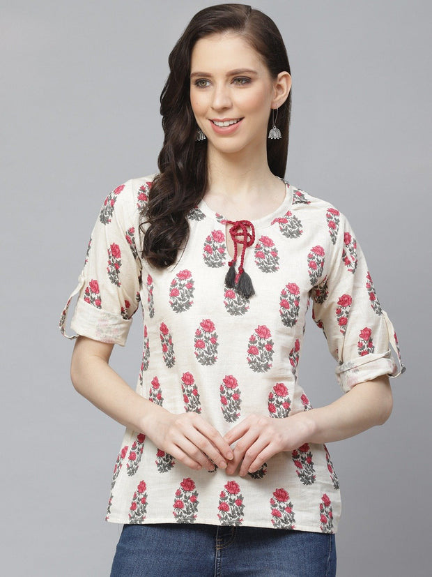 Women Off White & Pink A-Line Floral Printed Tie-Up Neck Top