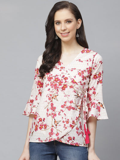 Women Off White & Pink Wrap Floral Printed V-Neck Top